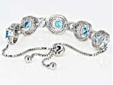 Blue and White Cubic Zirconia Rhodium Over Sterling Silver Adjustable Bracelet 11.28ctw
