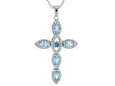 Blue and White Cubic Zirconia Rhodium Over Sterling Silver Cross Pendant With Chain 2.38ctw