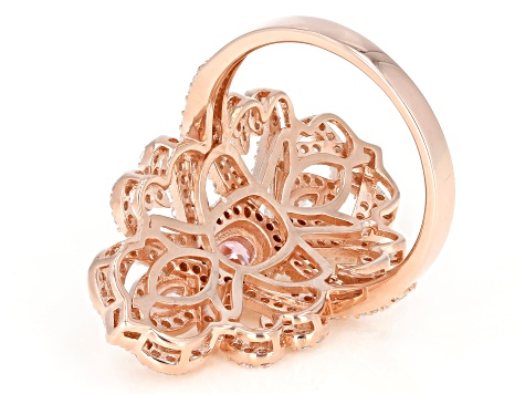 Pink and White Cubic Zirconia 18k Rose Gold Over Sterling Silver Ring 3.36ctw