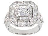 White Cubic Zirconia Rhodium Over Sterling Silver Center Design Ring 4.62ctw