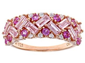 Pink & White Cubic Zirconia 18K Rose Gold Over Sterling Silver Ring 2.72ctw