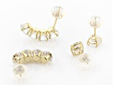 White Cubic Zirconia 14K Yellow Gold Earrings Set  Of 2 4.77ctw
