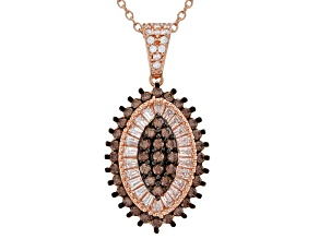 Brown & White Cubic Zirconia 18K Rose Gold Over Sterling Silver Cluster Pendant With Chain 1.92ctw