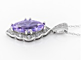 Purple & White Cubic Zirconia Rhodium Over Sterling Silver Center Design Pendant With Chain