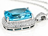 Blue & White Cubic Zirconia Rhodium Over Sterling Silver Center Design Pendant With Chain