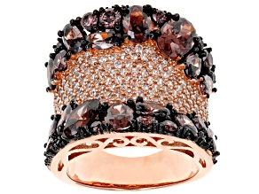 Brown & Champagne Cubic Zirconia 18K Rose Gold Over Sterling Silver Ring 11.10CTW