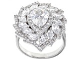 White Cubic Zirconia Rhodium Over Sterling Silver Ring 4.33ctw