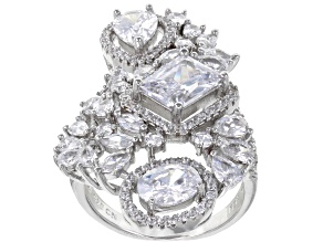 White Cubic Zirconia Rhodium Over Sterling Silver Ring 10.76ctw