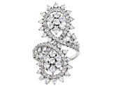 White Cubic Zirconia Rhodium Over Sterling Silver Ring 4.57ctw
