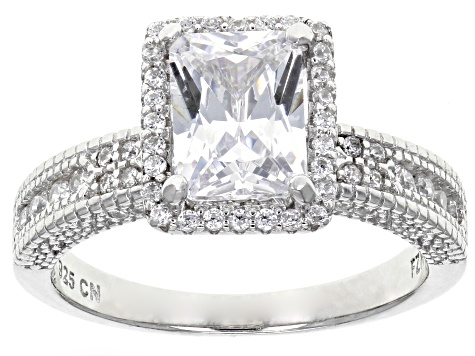 White Cubic Zirconia Rhodium Over Sterling Silver Center Design Ring With Bands 5.00ctw