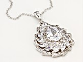 White Cubic Zirconia Rhodium Over Sterling Silver Pendant With Chain 6.71ctw
