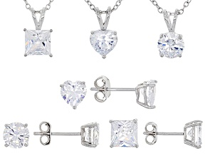 White Cubic Zirconia Rhodium Over Sterling Silver Jewelry Set Of 6 - 13.72ctw