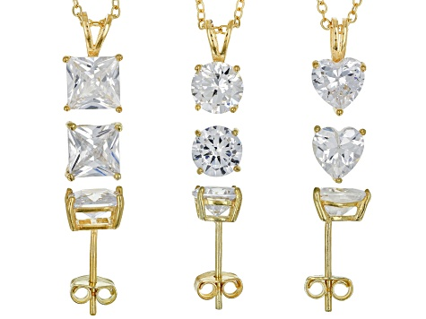 White Cubic Zirconia 18k Yellow Gold Over Sterling Silver Jewelry Set Of 6 - 13.72ctw