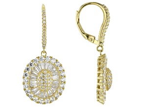 White Cubic Zirconia 18k Yellow Gold Over Sterling Silver Earrings 6.73ctw