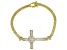 White Cubic Zirconia 18K Yellow Gold Over Sterling Silver Cross Bracelet 3.87ctw