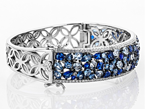 Blue Synthetic Spinel & White Cubic Zirconia Rhodium Over Sterling Silver Bracelet 23.26ctw