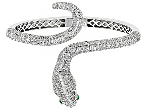 Green Nanocrystal and White Cubic Zirconia Rhodium Over Sterling Silver Bracelet 13.76ctw