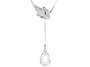 Green & White Cubic Zirconia Rhodium Over Sterling Silver Adjustable Necklace 10.62ctw
