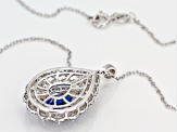 Lab Created Blue Spinel and White Cubic Zirconia Rhodium Over Silver Pendant With Chain 6.08ctw