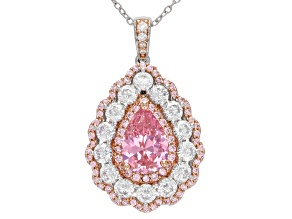 Pink and White Cubic Zirconia Rhodium Over Sterling Silver Pendant With Chain 6.08ctw