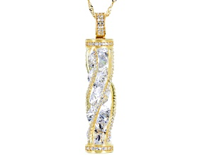 White Cubic Zirconia 18K Yellow Gold Over Sterling Silver Pendant With Chain 18.20ctw
