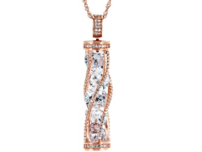 White Cubic Zirconia 18K Rose Gold Over Sterling Silver Pendant With Chain 18.20ctw