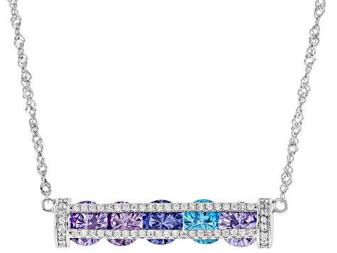 Blue,Lavender,& White Cubic Zirconia Rhodium Over Sterling Silver Necklace 7.48ctw