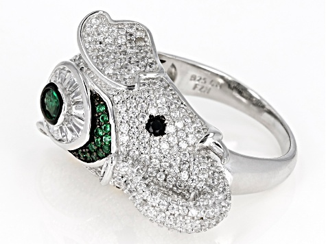 White and Black Cubic Zirconia and Green Nanocrystal Rhodium Over Silver Elephant Ring