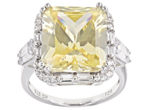 Yellow & White Cubic Zirconia Rhodium Over Sterling Silver Center Design Ring 19.82ctw