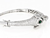 White and Black Cubic Zirconia and Green Nanocrystal Rhodium Over Sterling Elephant Bracelet 8.63ctw