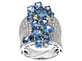 White Cubic Zirconia and Lab Created Blue Spinel Rhodium Over Sterling Silver Ring 11.59ctw