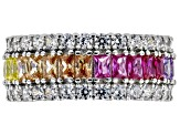 Multicolor Cubic Zirconia, Red Corundum, & Blue Spinel Rhodium Over Sterling Silver Ring 7.95ctw