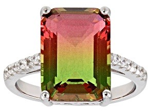 Watermelon Tourmaline Simulant & White Cubic Zirconia Rhodium Over Silver Center Design Ring