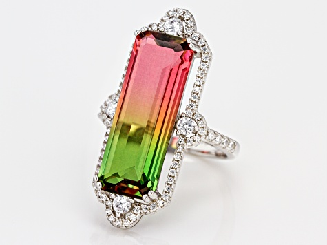 Watermelon Tourmaline & White Cubic Zirconia Rhodium Over Sterling Silver Center Design Ring