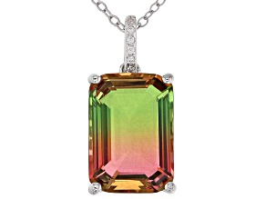Watermelon Tourmaline Simulant & White Cubic Zirconia Rhodium Over Silver Pendant With Chain