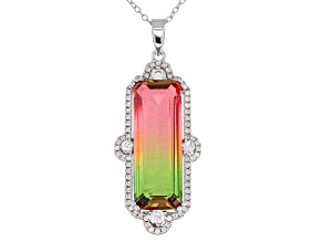 Watermelon Tourmaline & White Cubic Zirconia Rhodium Over Silver Pendant With Chain