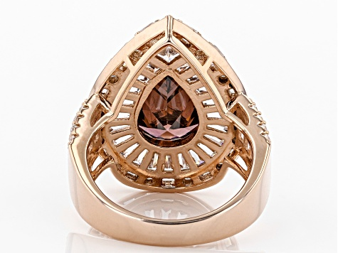 Blush & White Cubic Zirconia 18K Rose Gold Over Sterling Silver Center Design Ring 12.20ctw