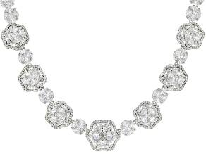 White Cubic Zirconia Rhodium Over Sterling Silver Statement Necklace 72.90ctw