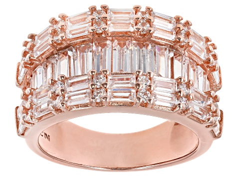 White Cubic Zirconia 18K Rose Gold Over Sterling Silver Cluster Ring 3.59ctw