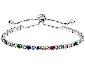 Multicolor Cubic Zirconia Rhodium Over Sterling Silver Adjustable Bracelet 4.28ctw