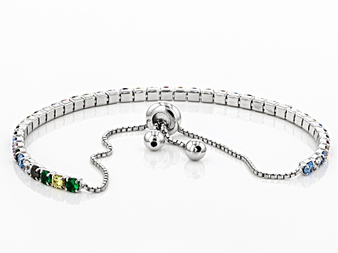 Multicolor Cubic Zirconia Rhodium Over Sterling Silver Adjustable Bracelet 4.28ctw