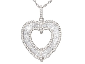 White Cubic Zirconia Rhodium Over Sterling Silver Pendant With Chain 15.38ctw