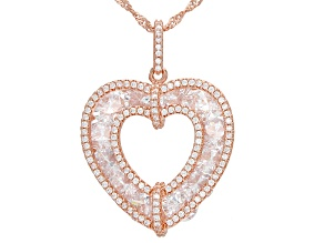 White Cubic Zirconia 18k Rose Gold Over Sterling Silver Pendant With Chain 15.38ctw