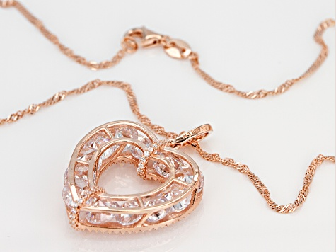 White Cubic Zirconia 18k Rose Gold Over Sterling Silver Heart Pendant With Chain 15.38ctw