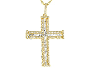 White Cubic Zirconia 18k Yellow Gold Over Sterling Silver Pendant With Chain 11.84ctw