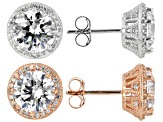 White Cubic Zirconia Rhodium & 18K Rose Gold Over Sterling Silver Earrings Set Of 2 14.44ctw