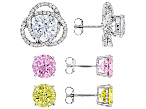 White,Yellow, & Pink Cubic Zirconia Rhodium Over Sterling Silver Interchangeable Earrings