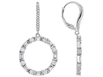 Picture of White Cubic Zirconia Rhodium Over Sterling Silver Cluster Earrings 4.29ctw