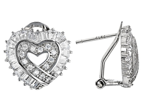 White Cubic Zirconia Rhodium Over Silver Heart Earrings & Pendant With Chain 7.09ctw