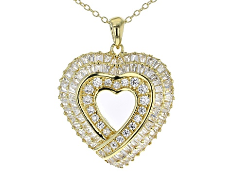 White Cubic Zirconia 18K Yellow Gold Over Silver Heart Pendant With Chain & Earrings Set